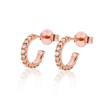 18CT Red Gold Diamond Small Hoop Earrings
