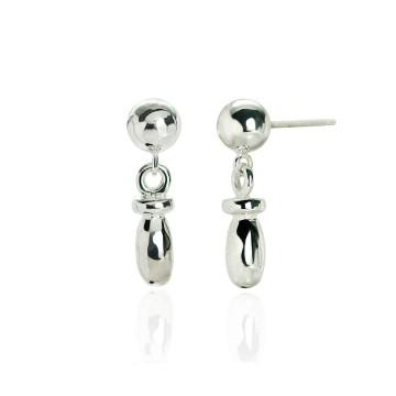 Barrel Silver Drop Earrings