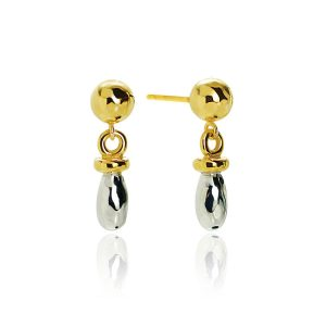 Barrel Silver & Gilt Drop Earrings