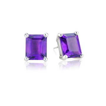 Big Rock Amethyst Stud Earrings