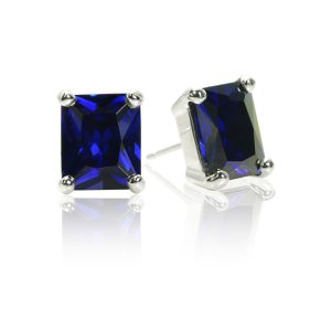Big Rock Synthetic Tanzanite Stud Earrings