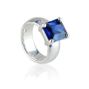Big Rock Synthetic Tanzanite Ring