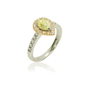 Halo Yellow Pear Shaped Diamond Ring