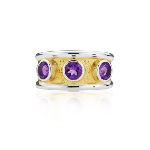 Gothic Amethyst Band Ring