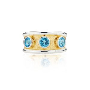 Gothic Swiss Blue Topaz Band Ring
