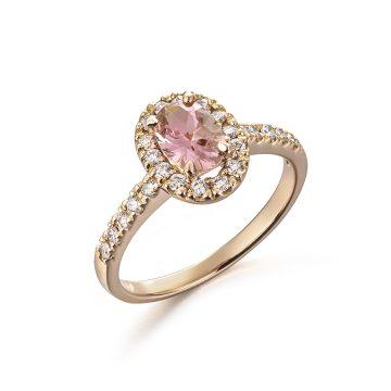 Halo Peach oval Sapphire & Diamond Ring