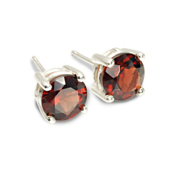 Big Brilliant Garnet Stud Earrings