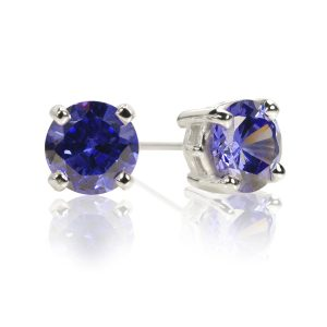 Big Brilliant Synthetic Tanzanite Stud Earrings