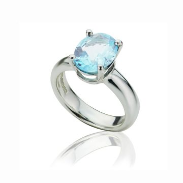 Big Brilliant Sky Blue Topaz Ring