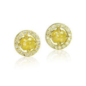 Yellow Old Cut Diamond Yellow Gold Halo Earrings