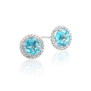 18ct White Gold & Apatite Halo Earrings