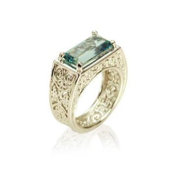 Aquamarine Lattice Ring