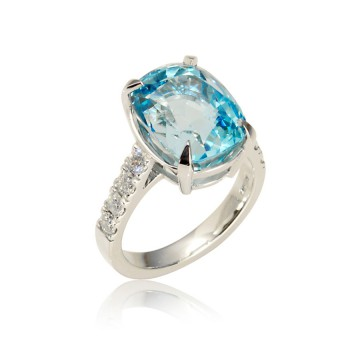 Large Cushion Aquamarine & Diamond Ring
