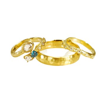 Yellow Gold Organic Wedding Set