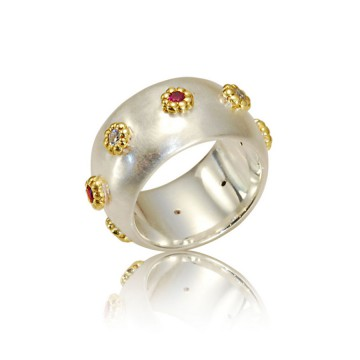 Ruby & Diamond Silver Wide Rose Ring