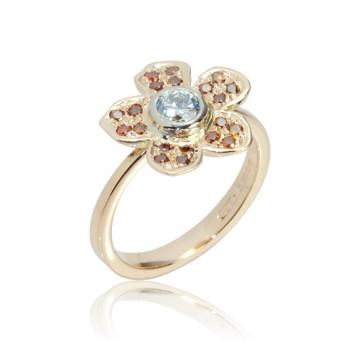 Daisy Brown & White Diamond Ring