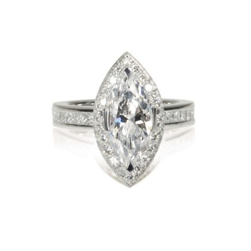 Marquise Diamond Halo Ring Channel Set Band