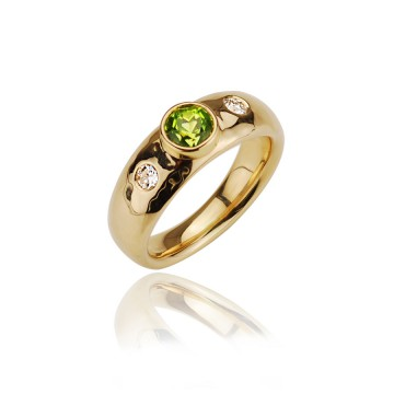 Heavy Hammered Peridot & Diamond Ring