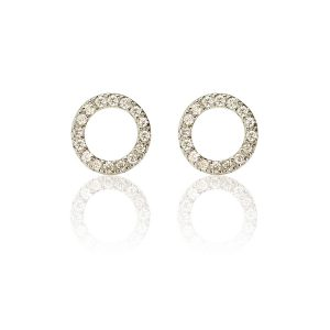 Halo Hoop 18ct White Gold Diamond Stud Earrings