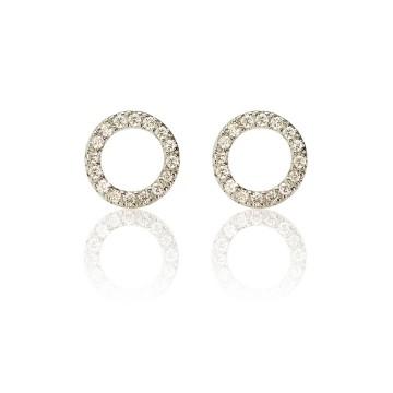 Halo Hoop 18ct White Gold Diamond Stud Earrings