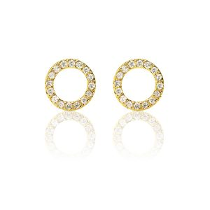 Halo Hoop 18ct Yellow Gold Diamond Stud Earrings