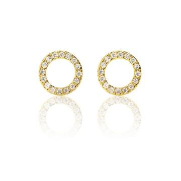Halo Hoop 18ct Yellow Gold Diamond Stud Earrings