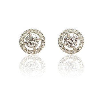 Halo 18ct White Gold Centre Diamond Earrings