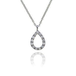 Halo 18ct White Gold & Diamond Teardrop Pendant