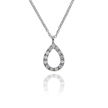 Halo 18ct White Gold & Diamond Teardrop Pendant