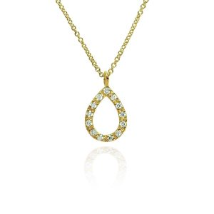 Halo 18ct Yellow Gold & Diamond Teardrop Pendant