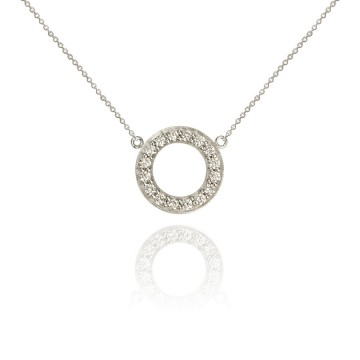 Halo 18ct White Gold & Diamond Hoop Pendant