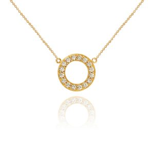 Halo 18ct Yellow Gold & Diamond Hoop Pendant
