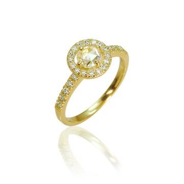 Halo 18ct Yellow Gold Rose Cut Diamond Ring