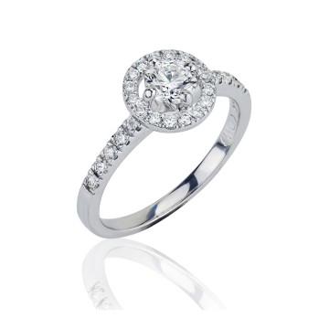 Halo 18ct White Gold Diamond Ring