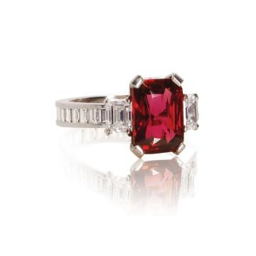 Emerald Cut Ruby & Channel Set Diamond Ring