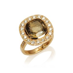 Smokey Quartz Diamond Halo Ring