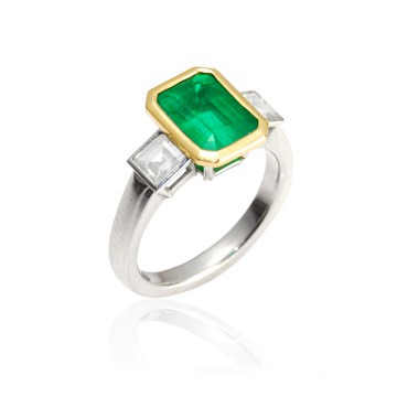 Emerald & Diamond Contemporary Ring
