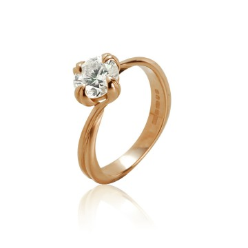 Red Gold & Diamond Art Nouveau Ring