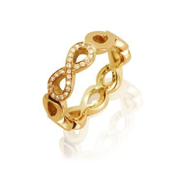 Infinity Yellow Gold & Diamond Ring