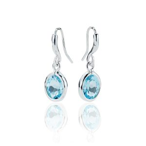 Gems Yard Sky Blue Topaz Drop Earrings