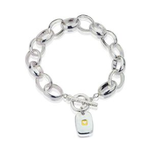 Heavy Hammered Heart Tag Lighter Bracelet