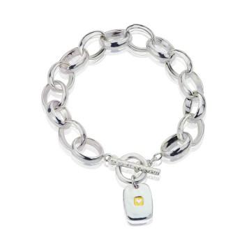 Heavy Hammered Heart Tag Lighter Bracelet
