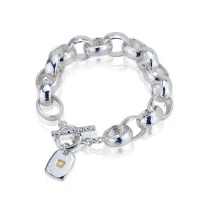 Heavy Hammered Heart Tag Heavy Bracelet