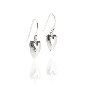 Heavy Hammered Heart Drop Earrings