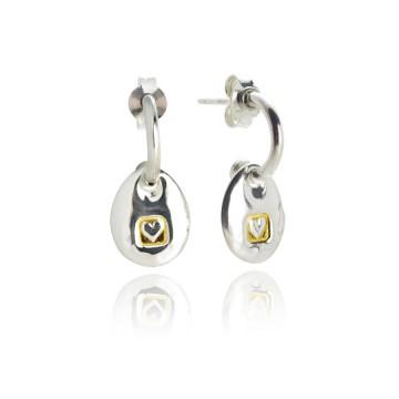 Heavy Hammered Heart Pebble Earrings
