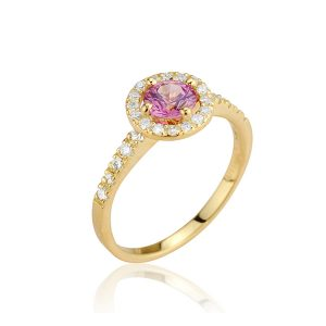 Halo 18ct Yellow Gold Diamond & Pink Sapphire Ring