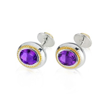 Regal Amethyst Silver & Gilt Cufflinks