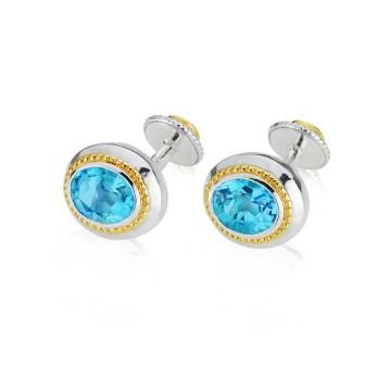 Regal Swiss Blue Topaz Silver & Gilt Cufflinks