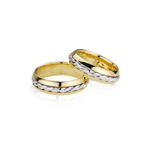 Yellow & White Gold Kinetic Rope Rings
