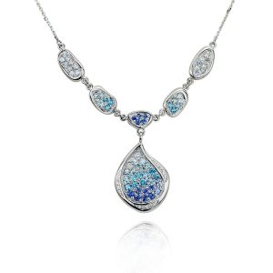 White Gold Ice Blue Necklace